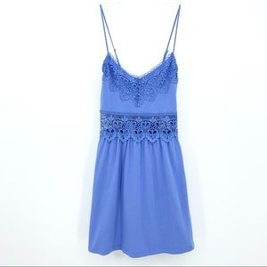 Topshop Blue Knit Lace Waist Cami Mini Dress